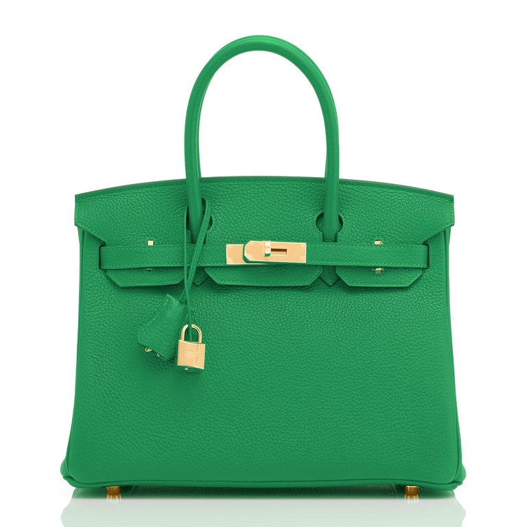 Hermes Birkin 30cm Bambou Bamboo Bag Green Gold Hardware Y Stamp, 2020  In New Condition For Sale In New York, NY