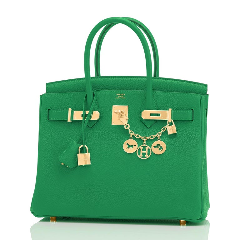 Women's Hermes Birkin 30cm Bambou Bamboo Bag Green Gold Hardware Y Stamp, 2020  For Sale