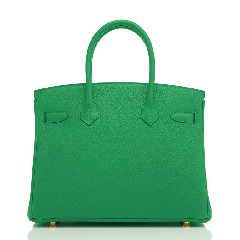 Hermes Birkin 30cm Bambou Bamboo Bag Green Gold Hardware Y Stamp, 2020  For Sale 1