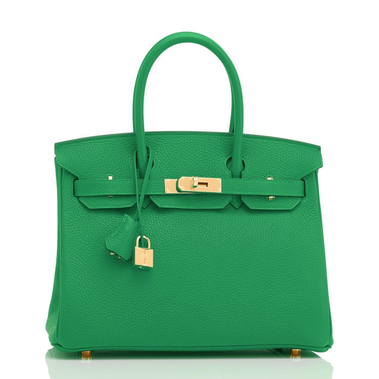 Hermes Birkin 30cm Bambou Bamboo Bag Green Gold Hardware Y Stamp, 2020  For Sale 2