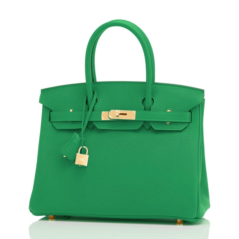 Hermes Birkin 30cm Bambou Bamboo Bag Green Gold Hardware Y Stamp, 2020  For Sale 4