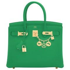 Hermes Birkin 30cm Bambou Bamboo Bag Green Gold Hardware Y Stamp, 2020