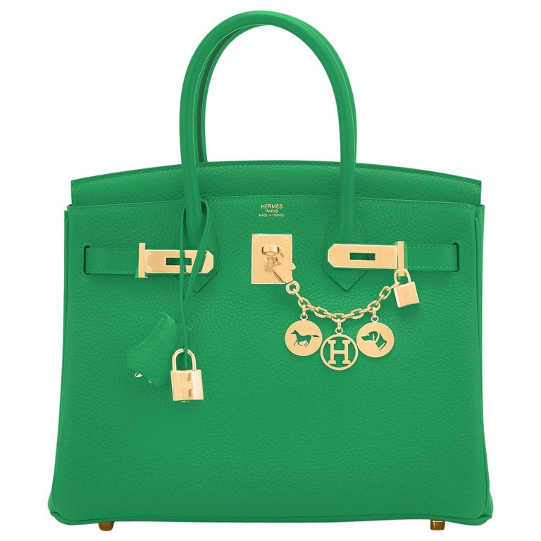 Hermes Birkin 30cm Bambou Bamboo Bag Green Gold Hardware Y Stamp, 2020  For Sale