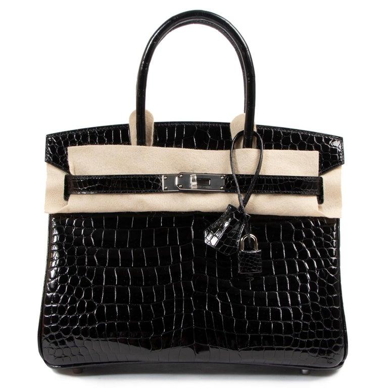 Hermès Birkin 30cm Black Crocodile Porosus PHW In New Condition For Sale In Antwerp, BE