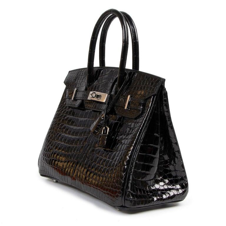 Women's Hermès Birkin 30cm Black Crocodile Porosus PHW For Sale
