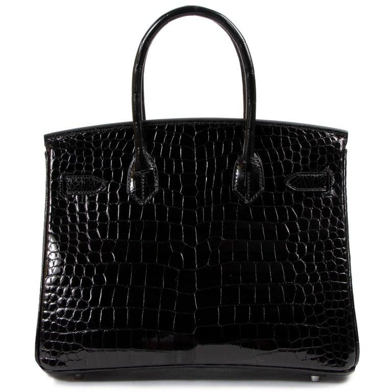 Hermès Birkin 30cm Black Crocodile Porosus PHW For Sale 1