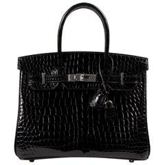 Hermès Birkin 30cm Black Crocodile Porosus PHW