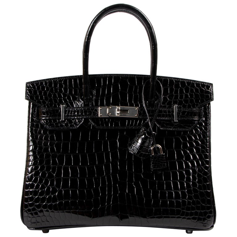 Hermès Birkin 30cm Black Crocodile Porosus PHW For Sale