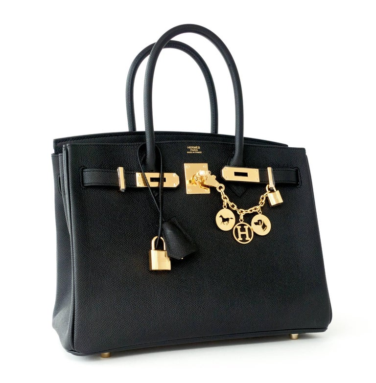 Hermes Black 30cm Birkin Epsom Gold Hardware GHW Satchel Bag Sophisticated Just purchased from Hermes store; bag bears new interior 2019 D stamp. Store fresh.  Pristine Condition (with plastic on hardware) Comes with keys, lock, clochette, a sleeper