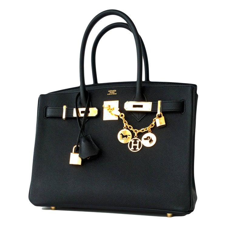 Women's Hermes Birkin 30cm Black Epsom Gold Hardware Bag D Stamp, 2019 For Sale