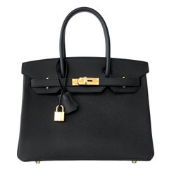 Hermes Birkin 30cm Black Epsom Gold Hardware Bag D Stamp, 2019