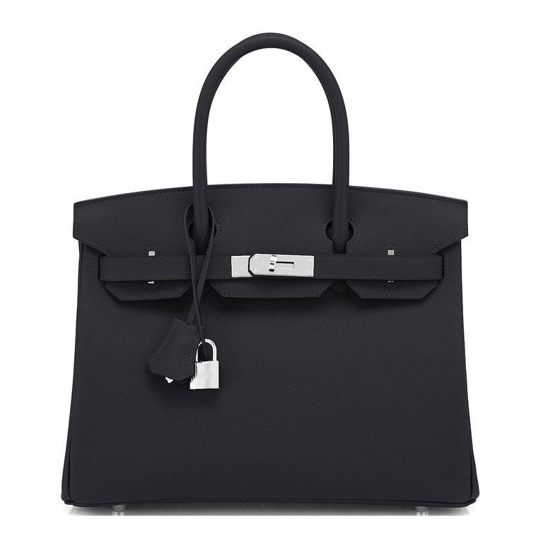 Hermes Birkin 30cm Black Epsom Palladium Bag Y Stamp, 2020 In New Condition For Sale In New York, NY