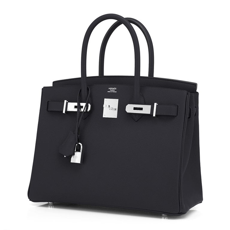 Women's Hermes Birkin 30cm Black Epsom Palladium Bag Y Stamp, 2020 For Sale