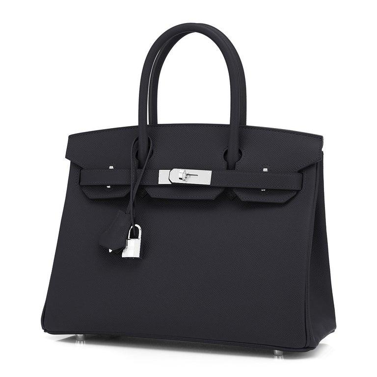 Hermes Birkin 30cm Black Epsom Palladium Bag Y Stamp, 2020 For Sale 3