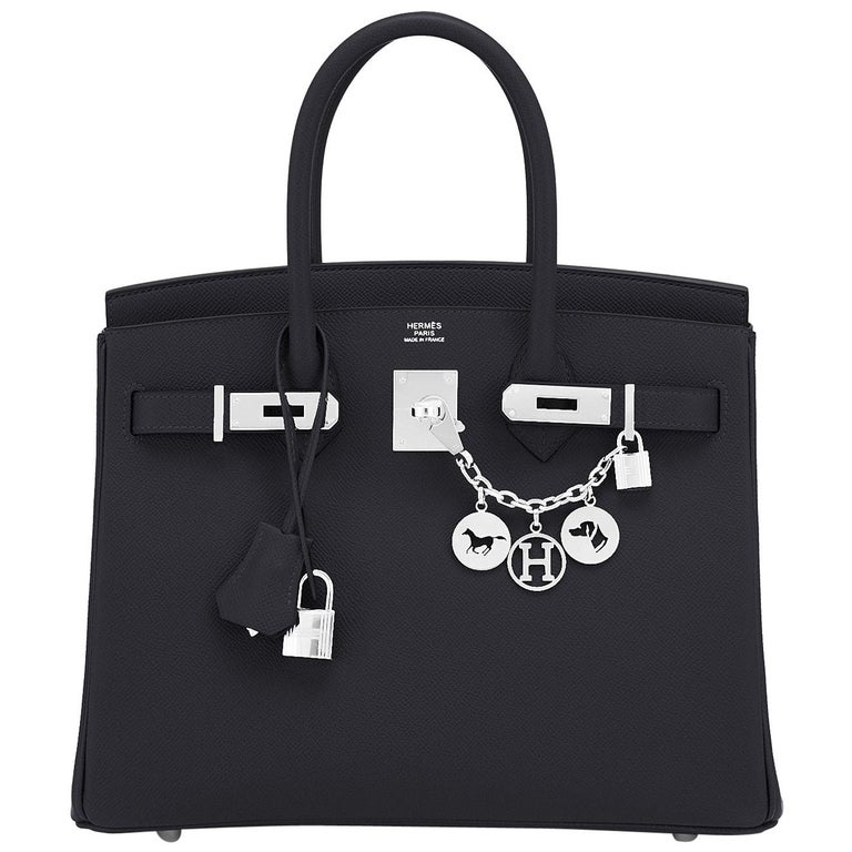 Hermes Birkin 30cm Black Epsom Palladium Bag Y Stamp, 2020 For Sale