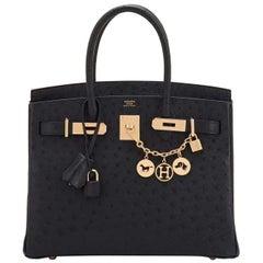 Hermes Birkin 30cm Black Ostrich Rose Gold Hardware Bag RARE Z Stamp, 2021