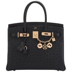 Hermes Birkin 30cm Black Ostrich Rose Gold Hardware Bag Y Stamp, 2020 RARE