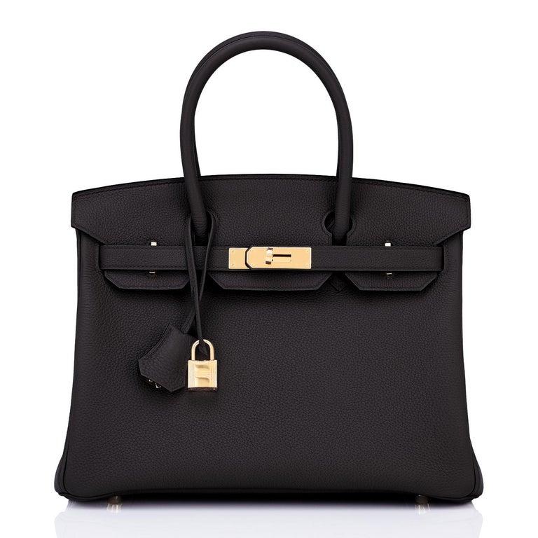 Hermes Birkin 30cm Black Togo Gold Hardware Bag Y Stamp, 2020 In New Condition For Sale In New York, NY