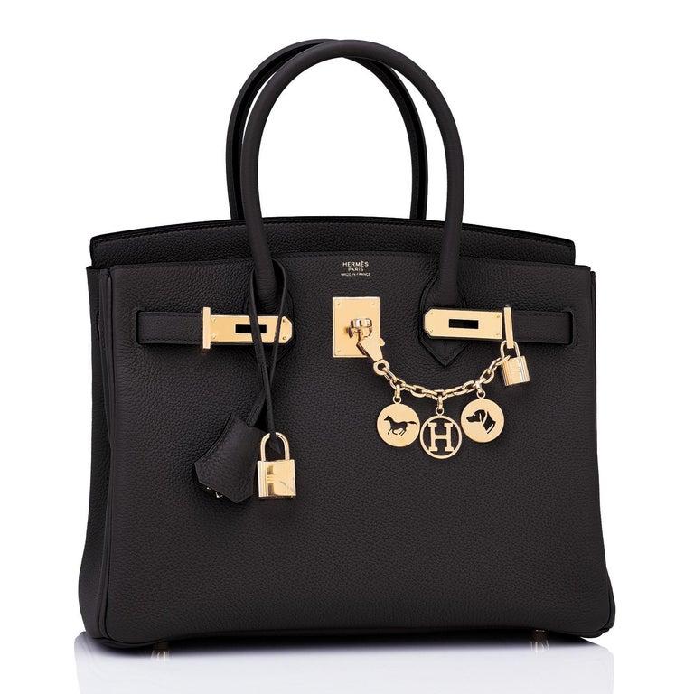 Women's or Men's Hermes Birkin 30cm Black Togo Gold Hardware Bag Y Stamp, 2020 For Sale