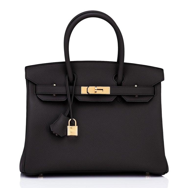 Hermes Birkin 30cm Black Togo Gold Hardware Bag Y Stamp, 2020 For Sale 3