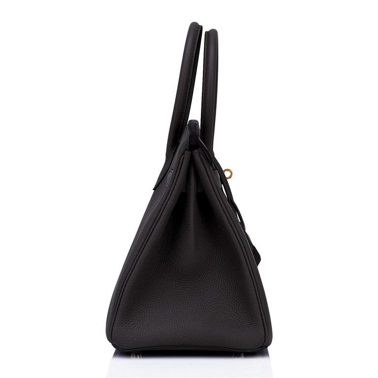 Hermes Birkin 30cm Black Togo Gold Hardware Bag Y Stamp, 2020 For Sale 4