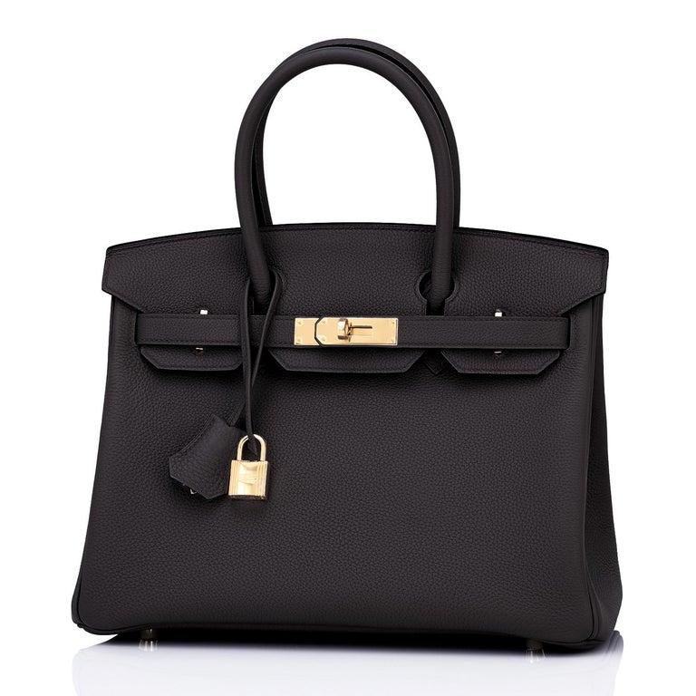 Hermes Birkin 30cm Black Togo Gold Hardware Bag Y Stamp, 2020 For Sale 5
