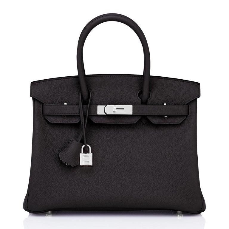 Hermes Birkin 30cm Black Togo Palladium Hardware Bag Y Stamp, 2020 In New Condition For Sale In New York, NY