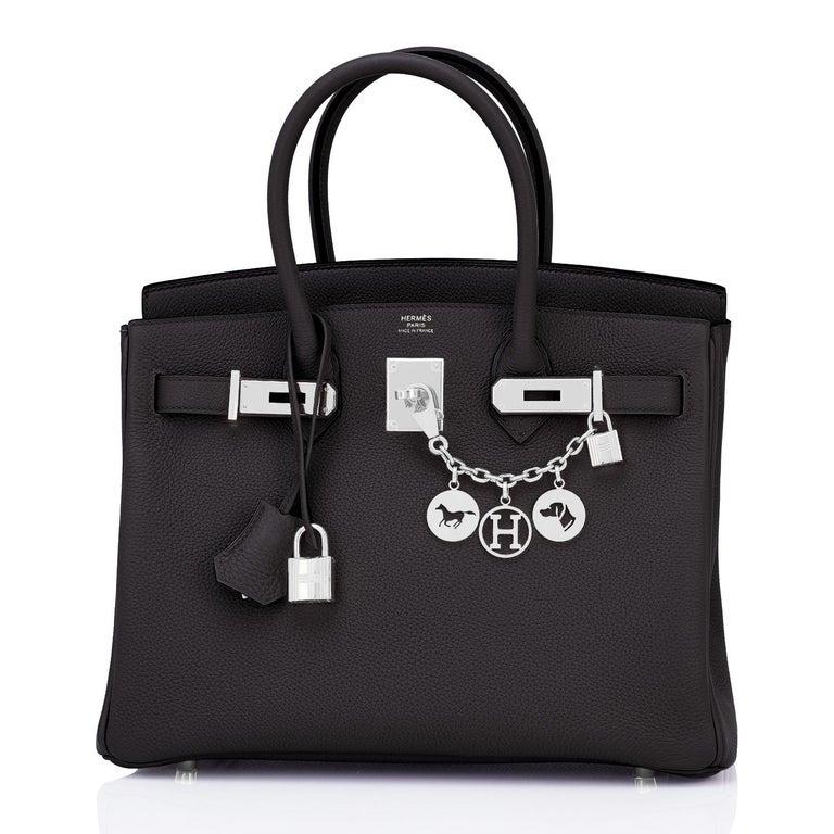 Women's or Men's Hermes Birkin 30cm Black Togo Palladium Hardware Bag Y Stamp, 2020 For Sale
