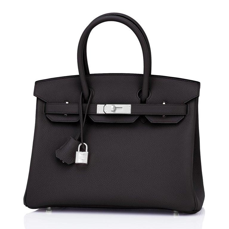 Hermes Birkin 30cm Black Togo Palladium Hardware Bag Y Stamp, 2020 For Sale 4