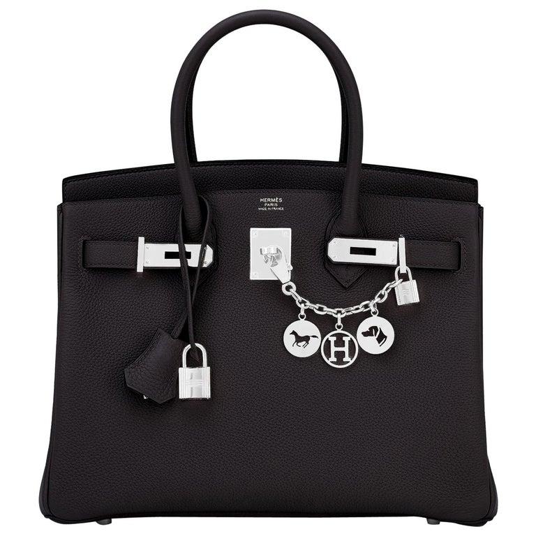 Hermes Birkin 30cm Black Togo Palladium Hardware Bag Y Stamp, 2020 For Sale