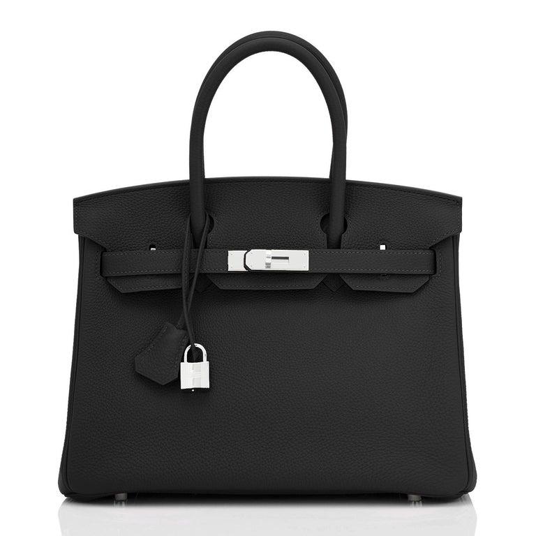 Hermes Birkin 30cm Black Togo Palladium Hardware Bag Z Stamp, 2021 In New Condition For Sale In New York, NY
