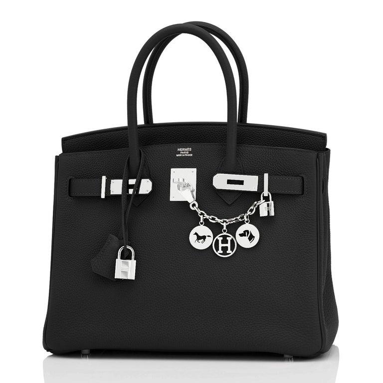 Women's or Men's Hermes Birkin 30cm Black Togo Palladium Hardware Bag Z Stamp, 2021 For Sale