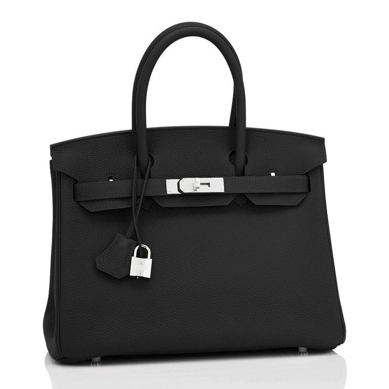 Hermes Birkin 30cm Black Togo Palladium Hardware Bag Z Stamp, 2021 For Sale 3