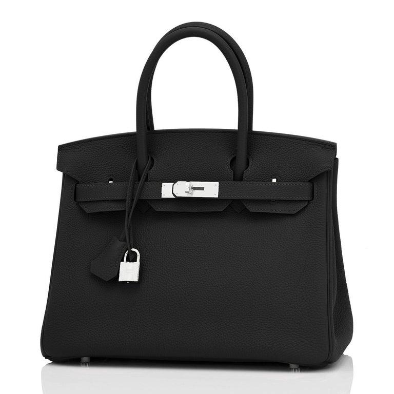 Hermes Birkin 30cm Black Togo Palladium Hardware Bag Z Stamp, 2021 For Sale 5