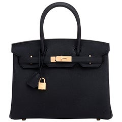 Hermes Birkin 30cm Black Togo Rose Gold Hardware Bag D Stamp, 2019