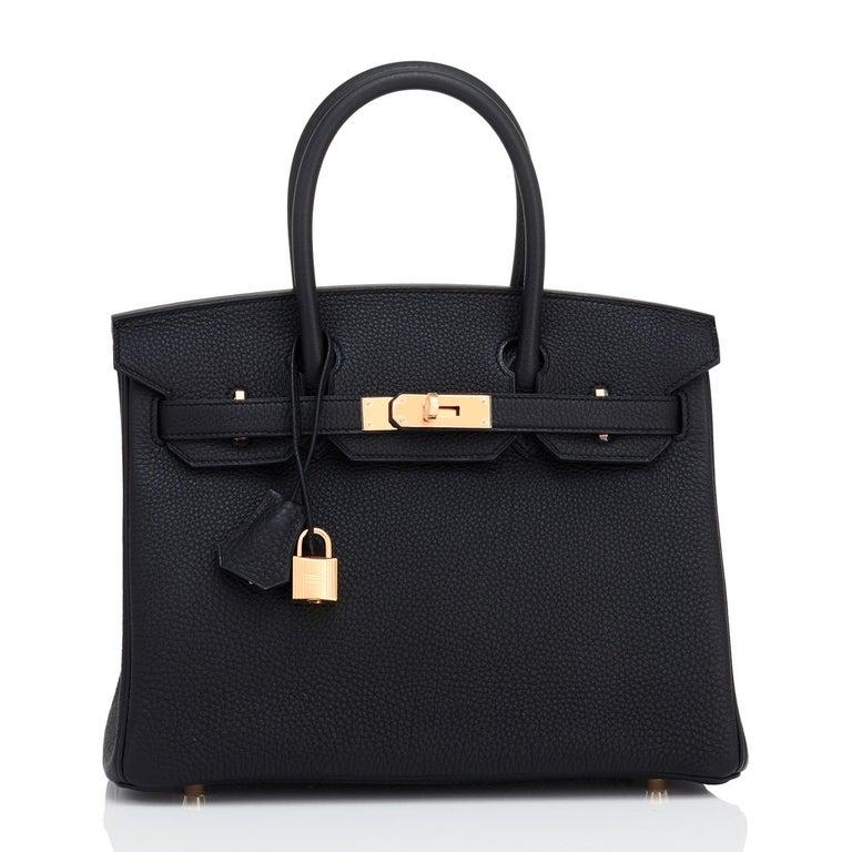 Women's or Men's Hermes Birkin 30cm Black Togo Rose Gold Hardware Bag Y Stamp, 2020 For Sale
