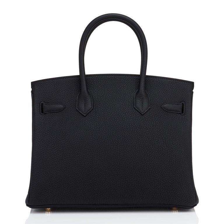 Hermes Birkin 30cm Black Togo Rose Gold Hardware Bag Y Stamp, 2020 For Sale 1