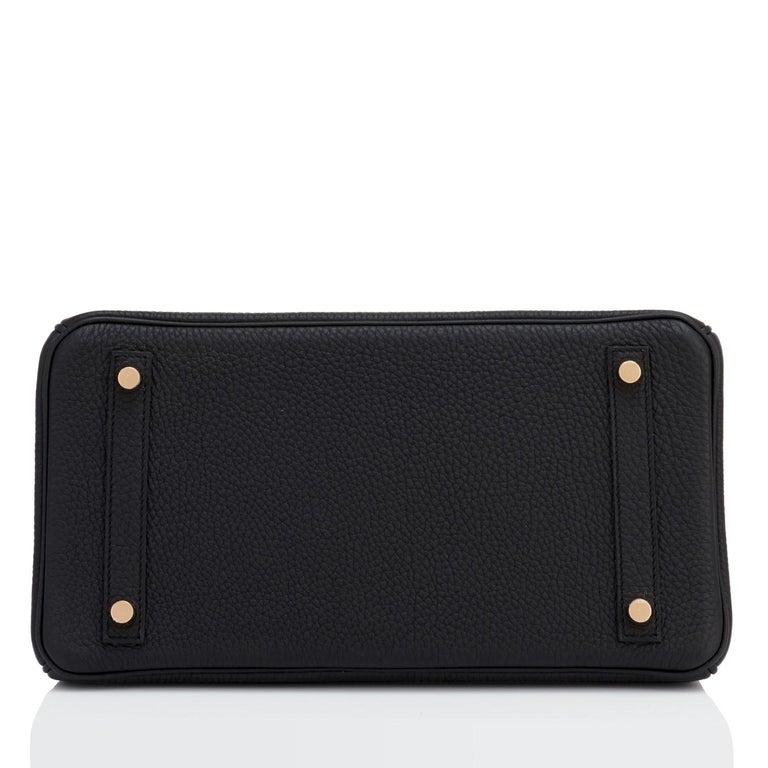 Hermes Birkin 30cm Black Togo Rose Gold Hardware Bag Y Stamp, 2020 For Sale 3