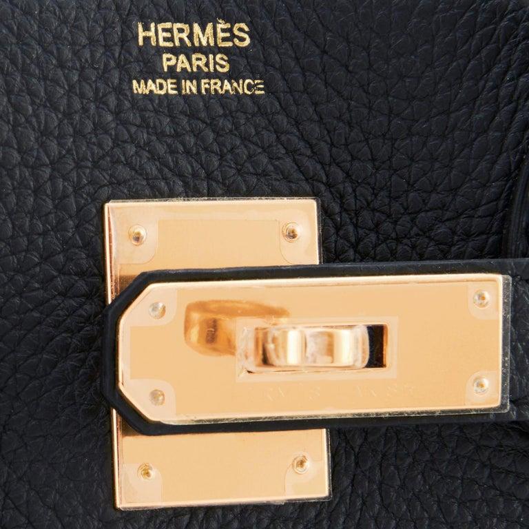 Hermes Birkin 30cm Black Togo Rose Gold Hardware Bag Y Stamp, 2020 For Sale 5