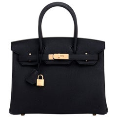 Hermes Birkin 30cm Black Togo Rose Gold Hardware Bag Y Stamp, 2020