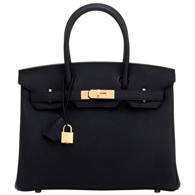 Hermes Birkin 30cm Black Togo Rose Gold Hardware Bag Y Stamp, 2020 For Sale