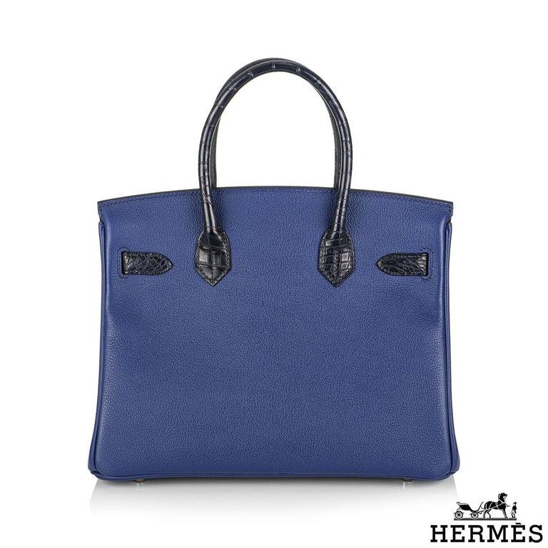 Hermès Birkin 30cm Bleu Saphir/Bleu Marine Touch Alligator/Novillo RGHW In New Condition For Sale In London, GB
