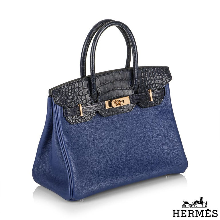 Women's Hermès Birkin 30cm Bleu Saphir/Bleu Marine Touch Alligator/Novillo RGHW For Sale