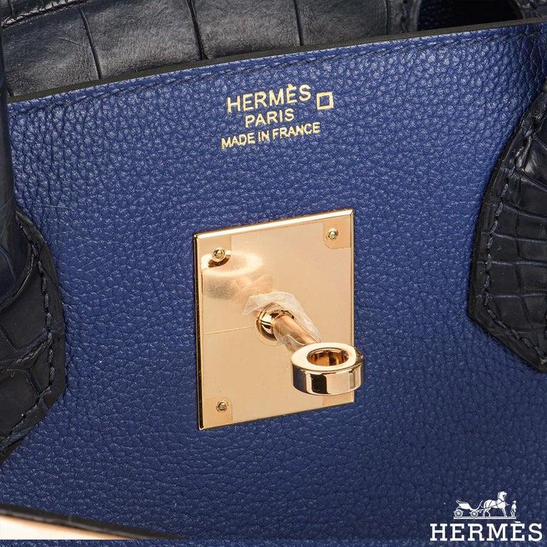 Hermès Birkin 30cm Bleu Saphir/Bleu Marine Touch Alligator/Novillo RGHW For Sale 1