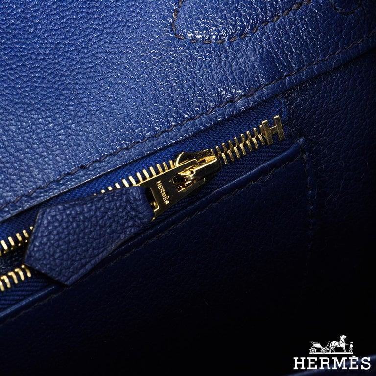 Hermès Birkin 30cm Bleu Saphir/Bleu Marine Touch Alligator/Novillo RGHW For Sale 2
