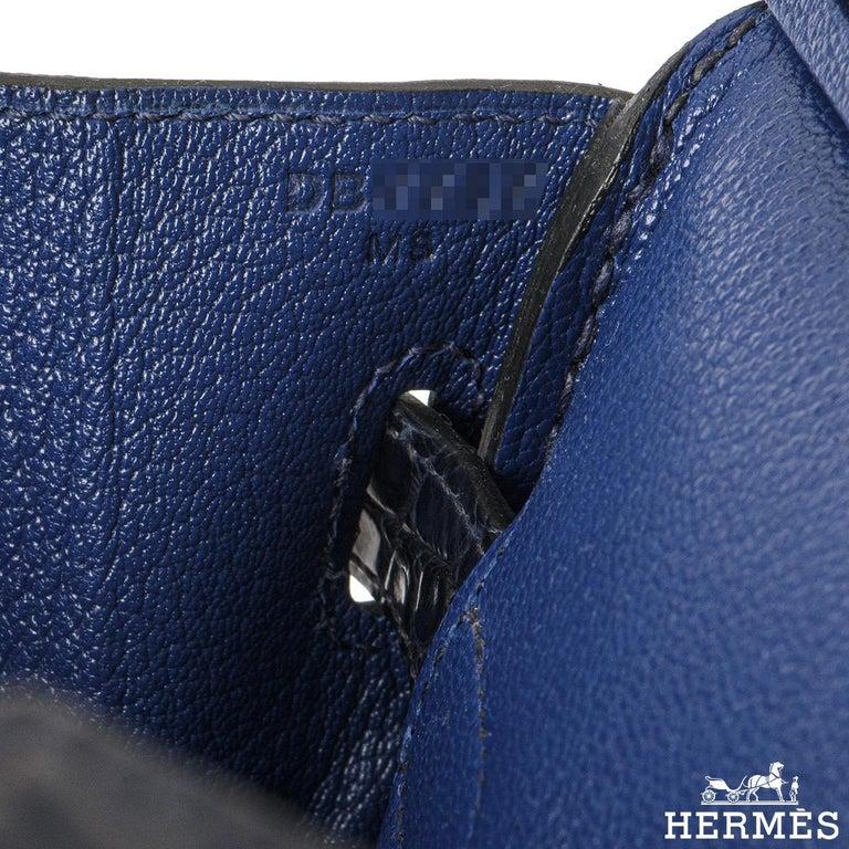 Hermès Birkin 30cm Bleu Saphir/Bleu Marine Touch Alligator/Novillo RGHW For Sale 3