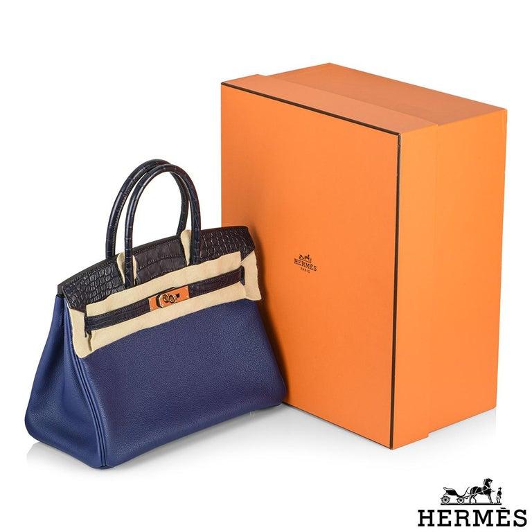 Hermès Birkin 30cm Bleu Saphir/Bleu Marine Touch Alligator/Novillo RGHW For Sale 5