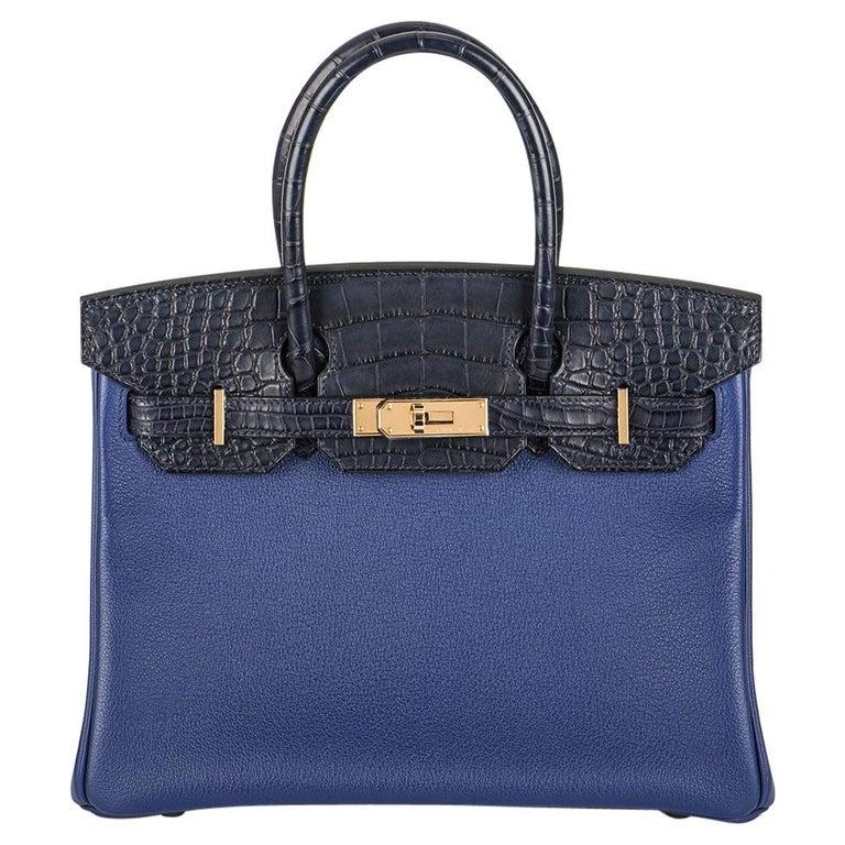 Hermès Birkin 30cm Bleu Saphir/Bleu Marine Touch Alligator/Novillo RGHW For Sale