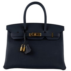 Hermès Birkin 30cm Blue Nuit Togo Leather Gold Hardware