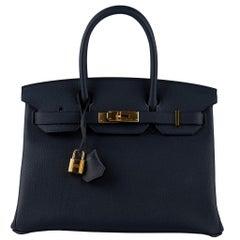 Hermès Birkin 30cm Blue Nuit Togo Leather Gold Hardware